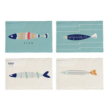 Mediterranean Style Fish Pattern Cotton Linen Placemat Printed Table Mat Heat-Insulation Dining Table Pad Kitchen Tableware(China)