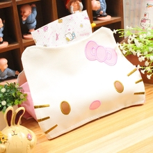 Creative Cartoon Hello Kitty Leather Tissue Boxes Cute Car Tissue Case Box Towel Napkin Papers Bag In Home Office Decoration B48