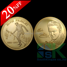 "5pcs/lot Free shipping 1OZ ELVIS PRESLEY ""THE KING OF ROCK MUSIC"" Commemorative coin 24K gold plated music coins for collection(China)"