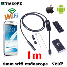Antscope Iphone Android WiFi Endoscope HD 8mm 720P 1M Waterproof Inspection Camera Snake Tube IOS Endoskop Android Mac Computer