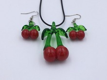 topstore 1 Sets/Lot  Cherries Lampwork Glass Murano Necklace Earrings Set