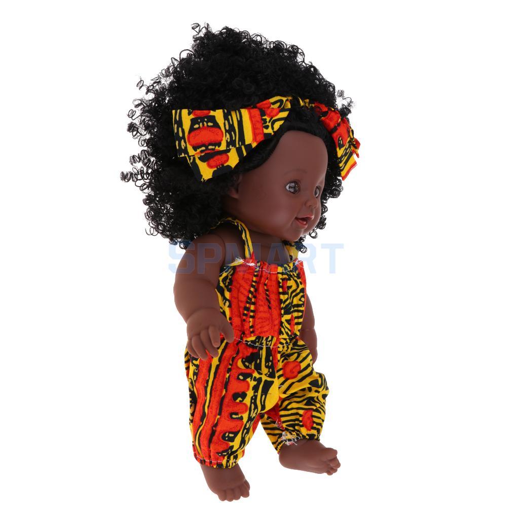 Realistic Vinyl Baby Girl Doll - Reborn 12inch African American Doll - Black Curly Hair Kids Birthday Gift Festival Present
