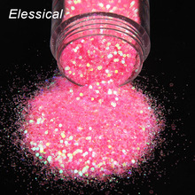 ELESSICAL Holographic Polishing For Nails Hyperbole Red Hexagon Nail Glitters Sequins Acrylic Powders Nail Art Decorations WY832(China)