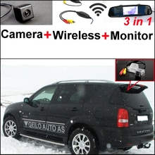For SsangYong Rexton irror Monitor Easy DIY Parking SystemY300 3 in1 Special Rear View Camera + Wireless Receiver + M