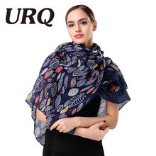 Brand Name Women Retro Style Leaves Printed Long Viscose Big Size Scarf Shawl Wrap Warm Scarf V9A18747(China)