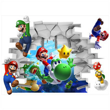 Super Mario Bros through wall creative stickers funny movie 3d vinyl decals for kids rooms decoration anime poster free shipping(China)