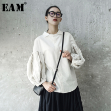 Buy EAM 2018 new spring summer lapel long lantern sleeve fold split joint white loose shirt women blouse fashion tide JE82000S for $30.45 in AliExpress store