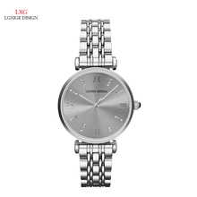 LGXIGE Simple ladies watches top brand luxury stainless steel Quartz watch Diamonds wristwatches relojes mujer 2017 montre femme(China)