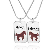 News Fashion BBF Best Friends Necklace High Quality Enamel Necklace Chain Necklace For Friends Gifts 12pcs/lot(China)