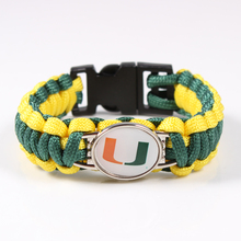Miami Hurricanes Custom Paracord Bracelet NCAA Football Bracelet Survival Bracelet ,Drop Shipping 19 Color Can Choos