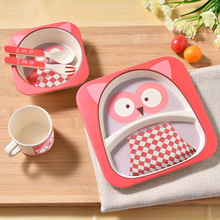 Bamboo child baby tableware plate set kids children dinnerware set dishes and plates sets feeding cup soup fork spoon utensils(China)