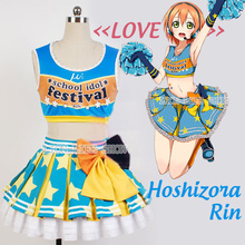 Japanese Anime Love Live Hoshizora Rin Cosplay Costume Lolita Cheerleading Uniforms Plus Size free shipping