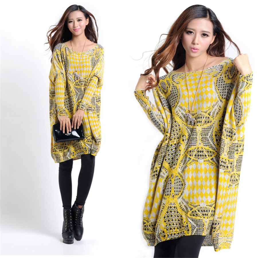 Women Knitted Dress Pregnant Sweater Maternity Loose Dresses Pregnancy Yellow Print Quality Cotton Clothing Dress New 70R058<br><br>Aliexpress