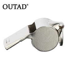 OUTAD Metal Referee Whistle with Black Lanyard for Games or Emergency Survival Coaches Referee Sport Rugby Soccer Football Use(China)