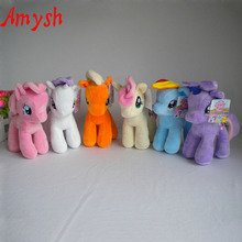 Amysh HOT 25cm cartoon kids TV Rainbow little horse Plush toy poni Unicorn doll toys for Children soft dolls Toy Horse