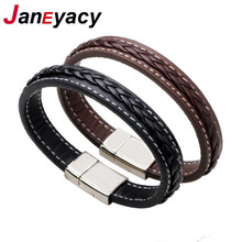 HOT Top Quality Genuine Leather Bracelet Men Stainless Steel Leather Braid Bracelet With Magnetic Buckle Clasp Man with bracelet(China)