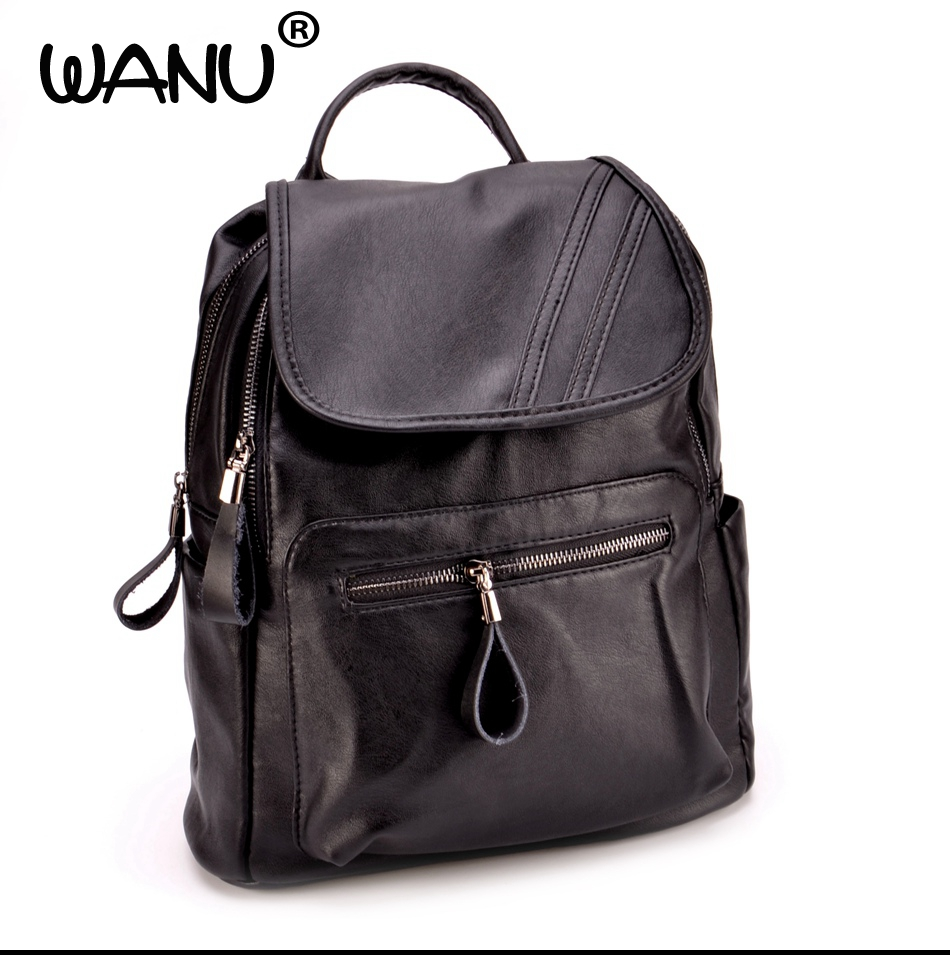 WANU Women Backpack Vintage Backpacks for Teenage Girls Fashion Large School Bags High Quality  Leather Black Bag travel bag<br>