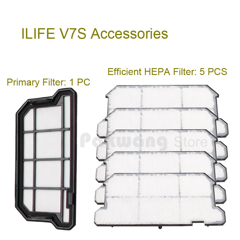Original ILIFE V7S Primary Filter 1 pc and Efficient HEPA Filter 5 pcs of V7S Robot vacuum cleaner parts from the factory<br>