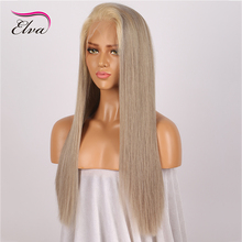 Elva Glueless Full Lace Human Hair Wigs With Baby Hair Pre Plucked Grey Gloden Straight Brazilian Virgin Hair Lace Wigs(China)