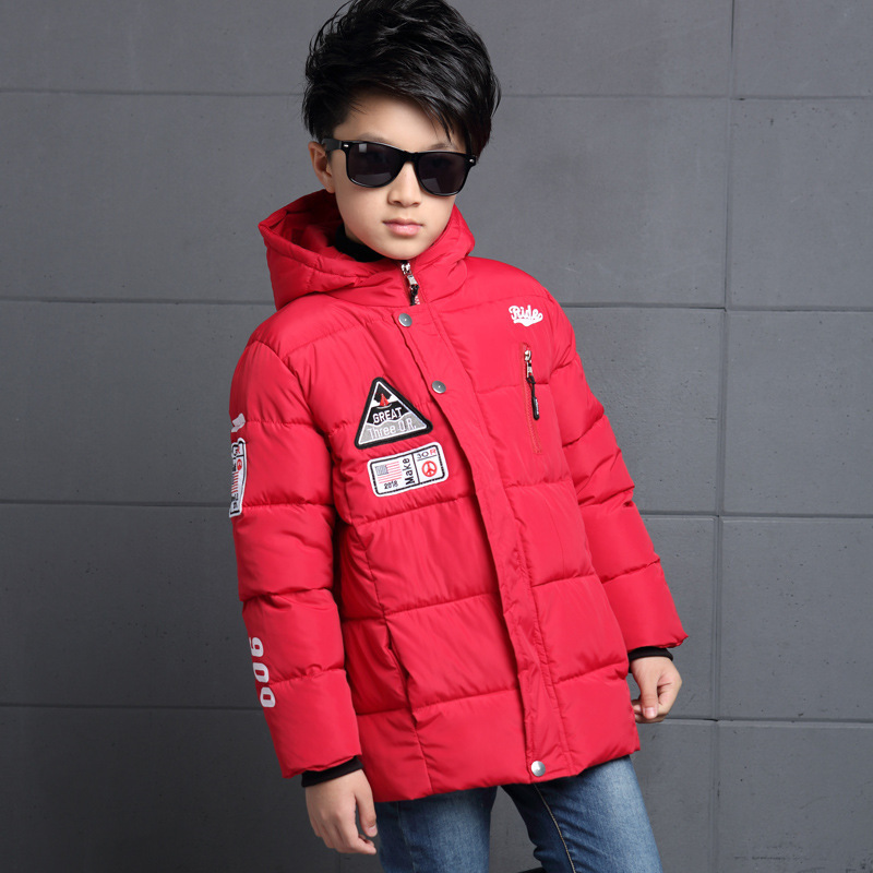 Boys Chest Labeling Design Handmade Cotton Coat Children Fall and Winter Fill Cotton Hooded Warm Cuff Fashion High Quality CoatÎäåæäà è àêñåññóàðû<br><br>