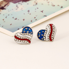 Fashion Heart Design American Flag Earrings for Women charming Five-pointed Star Crystal Stud Earrings Patriotic Jewelry Wholesa