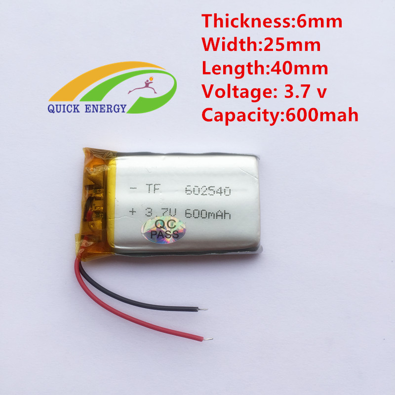 3.7V,600mAH,[602540] Polymer lithium ion / Li-ion battery for DVR RECORD,MP3,MP4,TOY,GPS,SMART WATCH,SPORT CAMERA(China (Mainland))