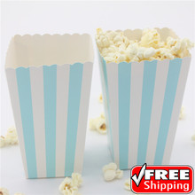 36pcs Light Blue Striped Printed Popcorn Boxes-Baby Shower Birthday Party-Stripe Favor Gift Candy Snack Paper Treat Boxes,Bags