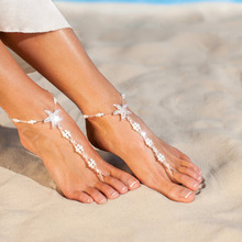 1 Pair Starfish Barefoot Sandals Fashion Design Beaded Foot Chain Ankle Bracelet Bikini Beach Jewelry Anklets For Women
