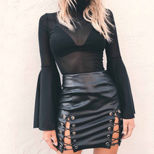Buy Sexy High Waist Irregular Women Leather Skirt Slit Bandage Bodycon Skirts Womens All-match Club Mini Skirt for $10.06 in AliExpress store