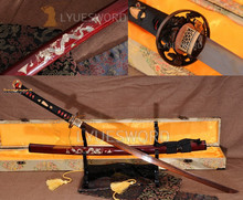 JAPANESE SAMURAI KATANA Full Tang SWORD Red Damascus Blade Sharp Fish Brass Tsuba Vintage Dragon Seashell OX Horn Saya