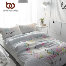 BeddingOutlet King of Horns Printed Bedding Set Kids Bedspread Duvet Cover Set Cute 100% Cotton Bed Set With Flat Sheet 4Pcs