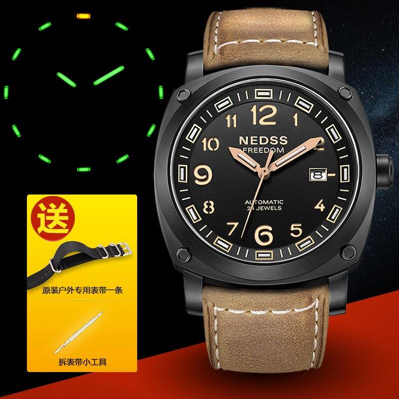 NEDSS brand luxury Miyota NH35 automatic watch tritium watch swiss H3 self-luminous aviation chronometer watch 50M waterproof