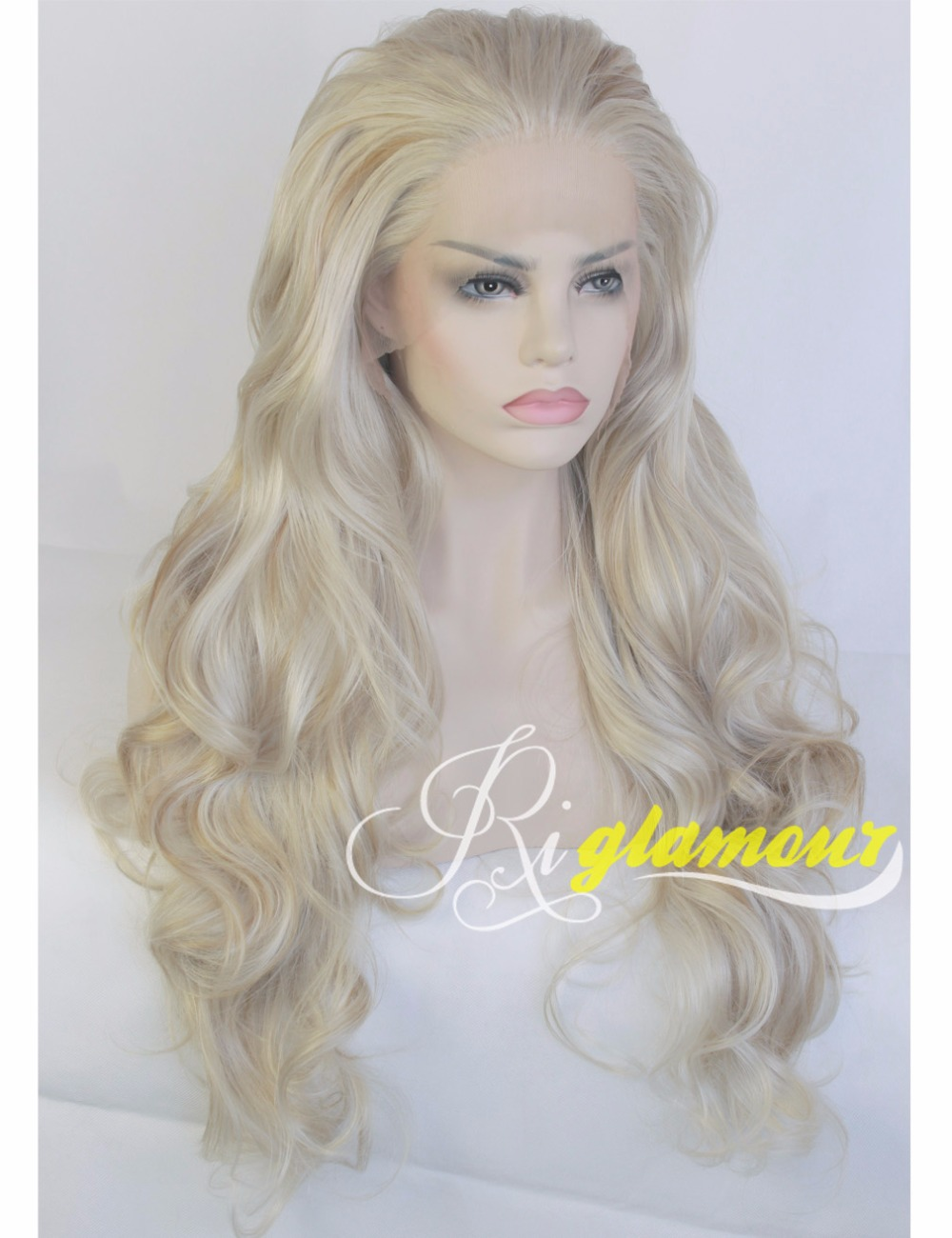 New Fashion Long Wavy Mixed Blonde Highlight Wig for White Women Heat Resistant Synthetic Hair Replacement  Lace Front Wigs<br><br>Aliexpress