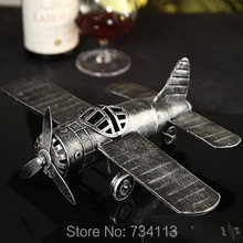 Vintage Metal Combat Airplane Miniature Model Steel Souvenir Handicraft Present Ornament for Room Decoration and Art Collectible(China)