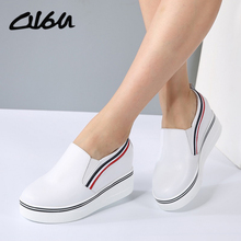 O16U Women Sneakers Fashion Platform Casual Shoes Genuine Leather Low Top Slip on Increasing Ladies White Black shoes Designer(China)