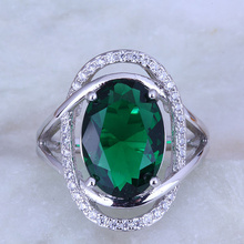 Top Quality Oval Green imitation Emerald & Cubic Zirconia Silver Color Ring for Womens Free Gift Bag J0485
