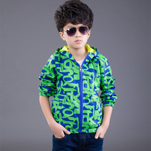 2016 Brand Boy Autumn Winter Wind Jacket Print Windbreaker Long Sleeve Coat Outdoor Sport Skiing Hooded Boy School Jacket Hot(China)