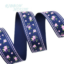(5 yards/lot) Deep Blue grosgrain ribbon printed lovely floral series ribbons