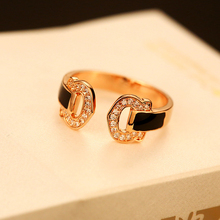 2017 AGOOD Brand D Rose Gold Rings Bling Bling Luxury CZ Crystal Opening Alloy Rings For Women Girls Gift Fashion Jewelry