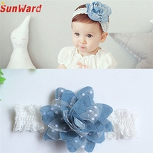 SUNWARD delicate  2017 hair accessories headband cute  Girls Princess Denim Flower Headbands Pography Props Elastic Hairband W25