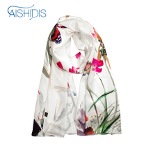 Aishidis Brand New Long Silk Scarf Floral Large Scarves & Shawls Petunia Flower Butterfly Insects Print Handmade High Quality(China)