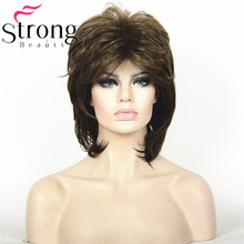 Short Brown Mix Choppy layered Shag Full Synthetic Wig Women's Wigs(China)