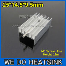 50pcs 25*14.5*9.5mm Heatsink Aluminum Heat Sink TO-220 TO220 With M3 Screw Hole And Needle(China)