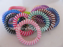 200pcs Hair Accessory Large Size Two-tone Candy Colors Phone Wire Hairband Hair Band Hand Ring Telephone Cord Ponytail Holder