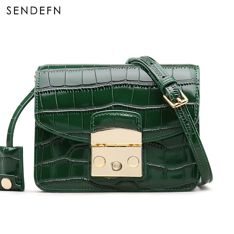 Crocodile Pattern Crossbody Bag Split Leather Women Bag New Female Bag Brand Handbag Quality Women Messenger Bags For iPhone 7S<br>