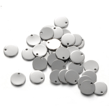 FUNIQUE 50PCs Stainless Steel Round Dog Tag Pendants Stamping Blanks Pendants For Necklaces DIY 10mm Jewelry Making Silver Tone