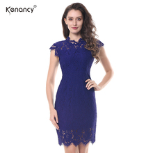 Kenancy 2017 New Lace Party Dresses Women Summer Elegant Sleeveless Floral Eyelash Lace Crew Neck Bodycon Pencil Office Dress(China)