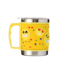Brand New Stainless Steel Mugs PVC Embossed Yellow Cartoon Emoji Metal Water Cups With Cover Drinkware Children Gifts