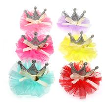 New 50pcs Lace Cown Pet hair bows Ribbon bows with Love accessories  Rubber bands Dog Pet grooming products Cute Gift 7CM