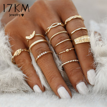 17KM 12 pc/set Charm Gold Color Midi Finger Ring Set for Women Vintage Punk Boho Knuckle Party Rings Jewelry Gift for Girl